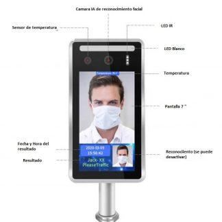 Panel de medición de temperatura, reconocimiento facial y de mascarilla
