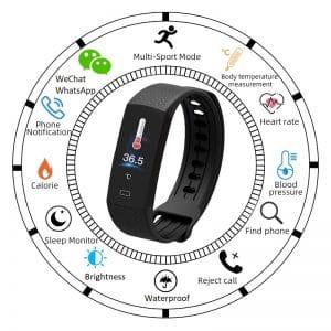 Reloj inteligente de frecuencia cardíaca y temperatura corporal B6W_EN