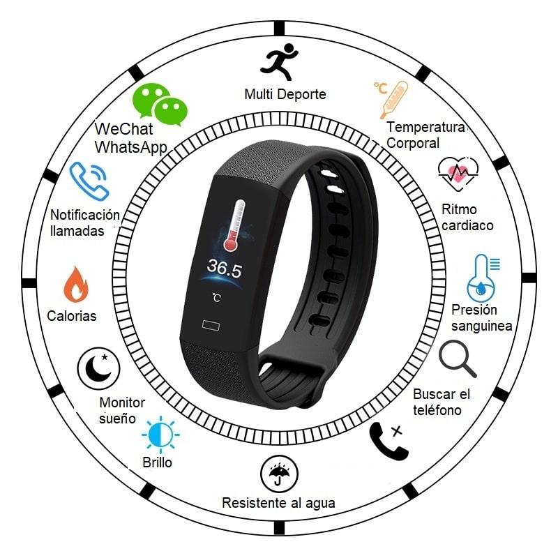 Reloj inteligente de frecuencia cardíaca y temperatura corporal B6W_ES