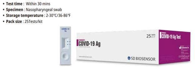 Test de antígeno de SARS-CoV-2 SD BIOSENSOR STANDARD Q COVID-19 Ag test - Pack 25
