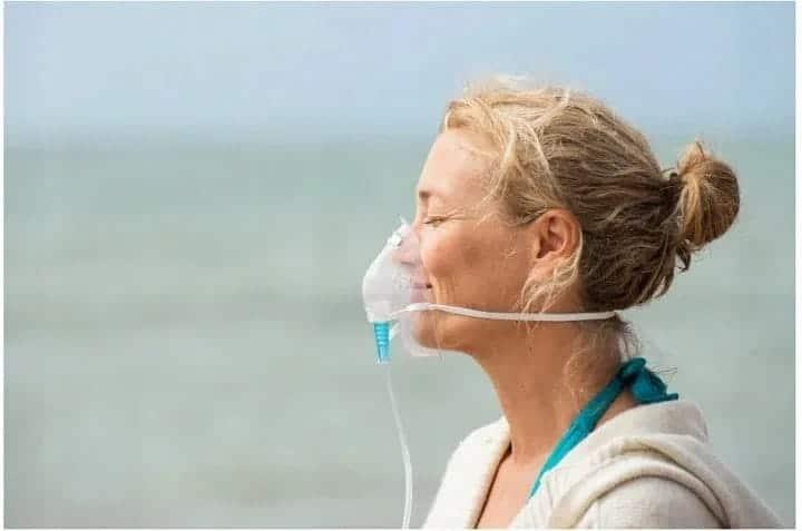 Oxígeno concentrado enlatado con mascarilla para inhalaciones